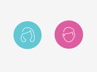 boys and girls blue pink icon circle line art face male female head shoulders circular outline
