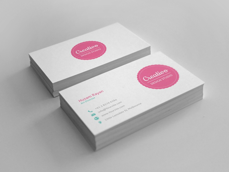 Creativo Business Cards business cards brand design studio creative blue red gray