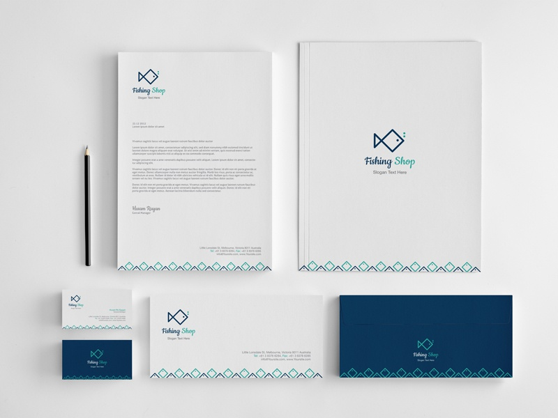 FishingShop Stationery brand logo business cards envelops letterhead folderfish fishing shop blue gray simple vector