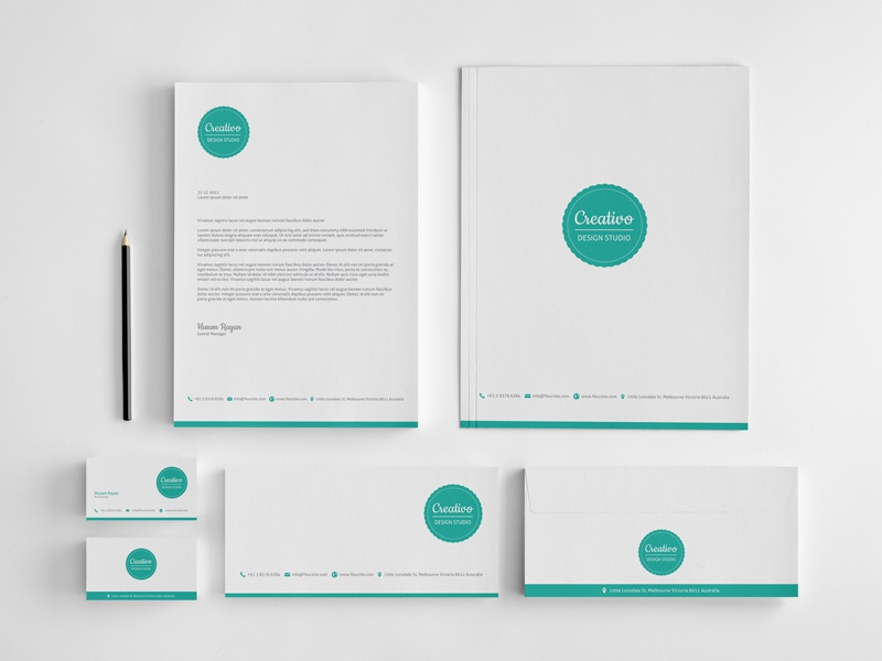 Creativo Stationery brand logo business cards letterhead envelops folder stationery green