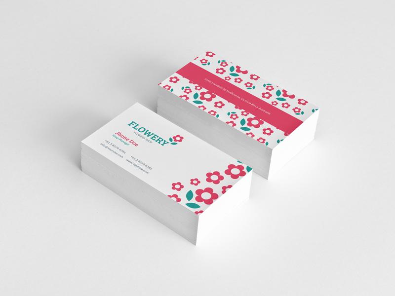 Flowery Business cards brand logo business cards flower flowers flowery identity stationery