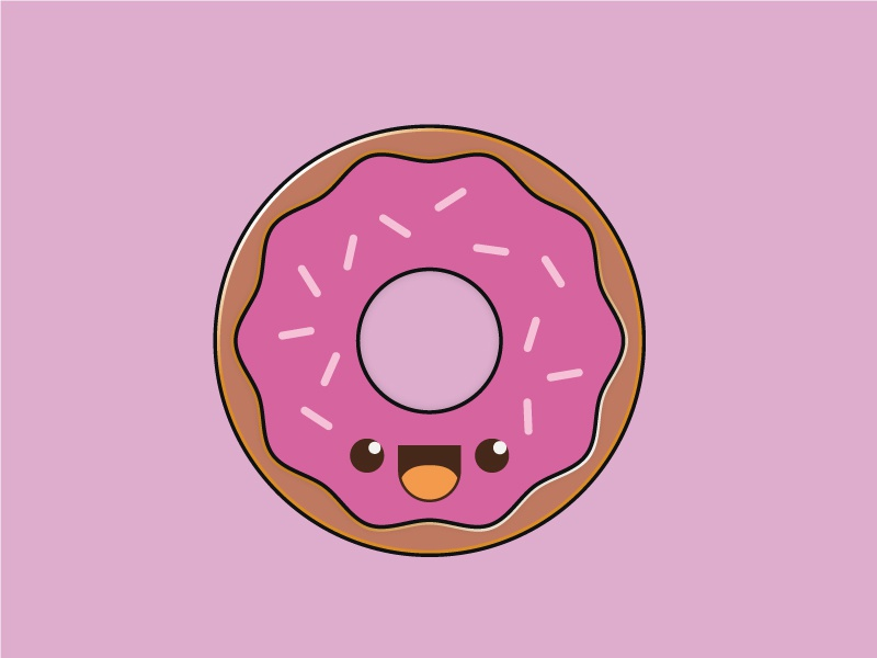 Donut illustration doodle donut sweet happy character