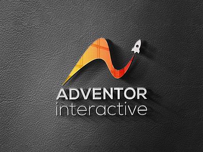 Adventor Interactive Logo flat minimal illustration design typography logo design logo illustrator branding vector