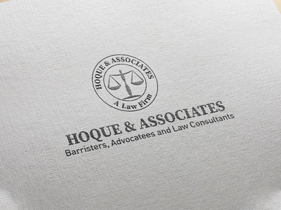 Hoque & Associates mockup law firm logo minimal logo design vector illustrator branding