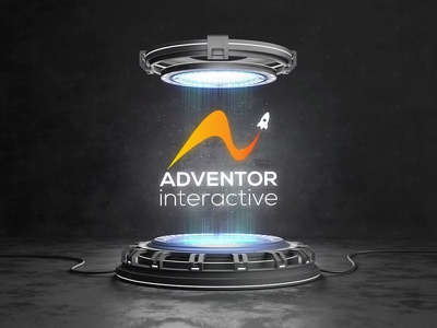Adventor Interactive Logo Designing Concept with Mockup branding concept takeoff blue space mockup logodesign logo creative brand identity digitial marketing digitial marketing branding