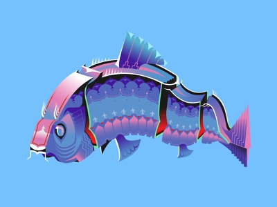 Fish digital illustration digital art digital painting adobe fish illustration art gradient illustration architect animal illustration design 2d graphic design graphic character design adobe illustrator