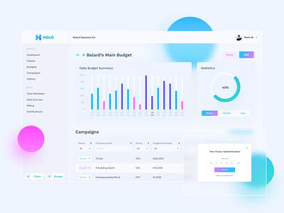 HOLO - Marketing Platform client budget manager glasmorphism charts statistics dashboard design dashboard economics marketing