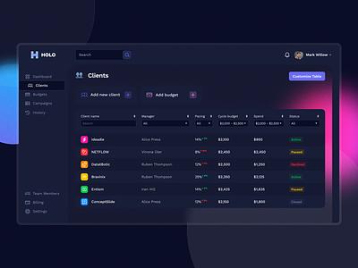 HOLO: Marketing Platform - Clients platform marketing noise blur dark dark dashboard analysis statistics clients dark theme dashboard