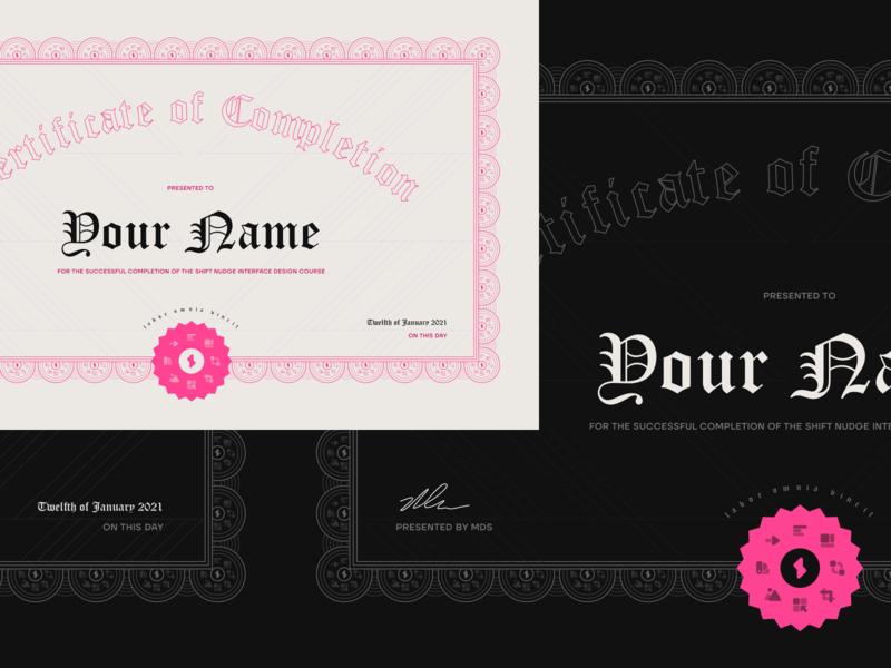 Certificate of Completion shiftnudge ornate certificate