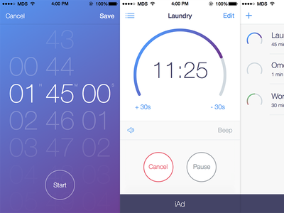 Timer+ for iOS 7  ios mobile ios 7 interface iphone flat ui progress selector button gradient