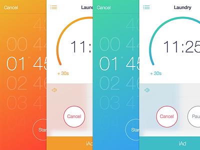 Timer+  Color Schemes ios mobile ios 7 interface iphone flat ui progress selector button gradient