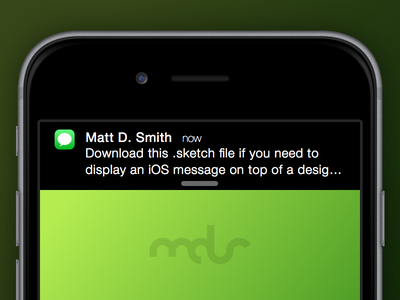 Free Sketch Download - iOS Message Notification ios iphone mobile notification download freebie sketch message