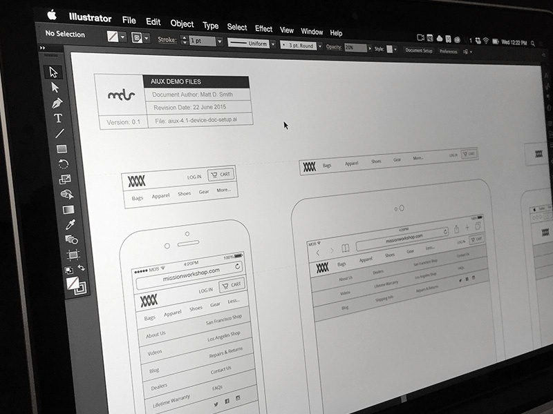 AIUX Responsive Navigation menu web responsive navigation wireframe ui ux illustrator aiux