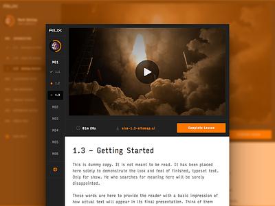 AIUX - Lesson Page video input icon progress interface ui ux sketch illustrator aiux