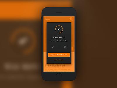 AIUX - Lesson Complete Modal mobile modal input icon progress interface ui ux sketch illustrator aiux