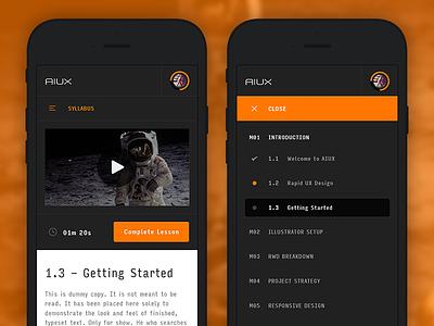 AIUX - Mobile View & Syllabus Expanded mobile navigation menu video input icon interface ui ux sketch illustrator aiux
