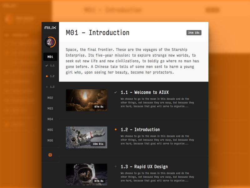 AIUX - Module Page typography sidebar navigation video icon progress interface ui ux sketch illustrator aiux