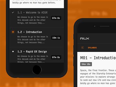 AIUX - Mobile Module typography sidebar navigation video icon progress interface ui ux sketch illustrator aiux