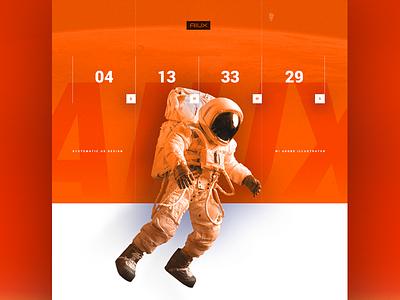 AIUXstronaut roboto aiux techy type astronaut countdown marketing landing ui photoshop