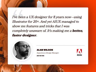 AIUX ❤️'s Adobe astronaut quote testimonial bookmania acumin landing adobe course animation illustrator responsive aiux