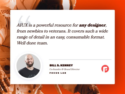 Bill ❤️'s AIUX astronaut quote testimonial bookmania acumin landing adobe course illustrator responsive aiux