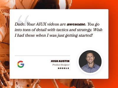Josh ❤️'s AIUX astronaut quote testimonial bookmania acumin landing adobe course animation illustrator responsive aiux