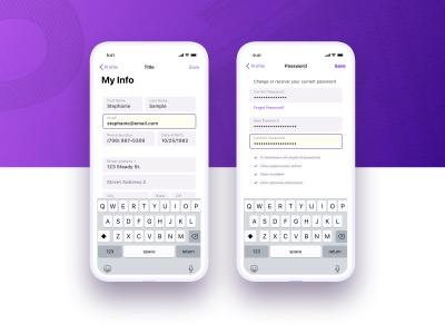 Steady Info interaction form input profile iphone iphone x app mobile