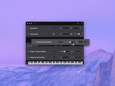 Cinesampler –Music app osx macos midi keyboard ui interface app desktop app mac