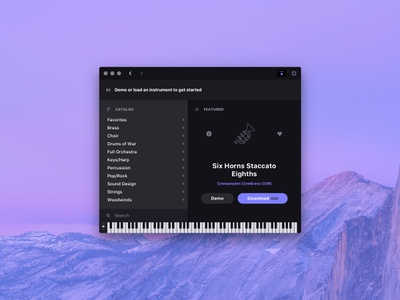 Cinesampler Default View osx macos midi keyboard ui interface app desktop app mac