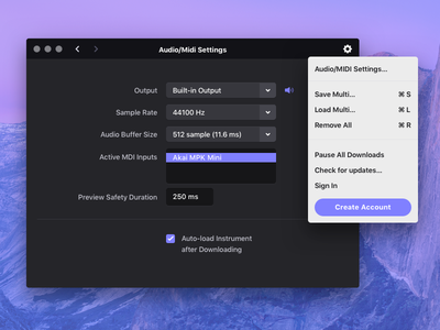 Settings osx macos midi keyboard ui interface app desktop app mac