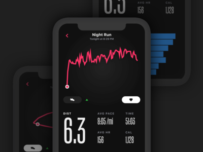 Night Run action condensed interface invision invision studio ios iphone iphone x mobile ui