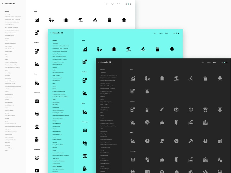 Streamline Category Viewer theme responsive colorful dark light web app icons