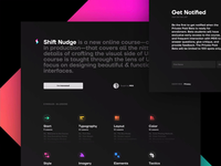 shift nudge landing dark mode responsive course ui landing page shiftnudge