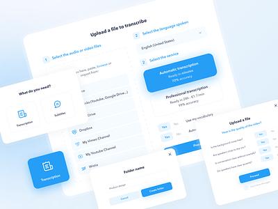 UI Elements: Happyscribe modals pop ups minimal form design system dialog box сomponents dialog modal ux ui uiux popups dashboard clean