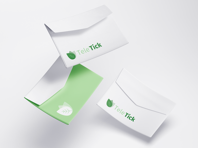 Visual Identity: TeleTick brand envelope medical care health logo leaf health style guide symbol color palette visual identity icons wordmark brandbook identity logo branding logo design font minimal