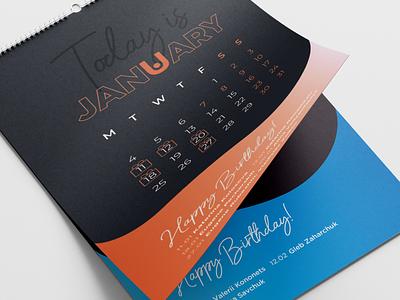 Corporate calendar birthday schedule event template date monthly typography polygraphy style corporate calendar design idea color poster branding graphic design gradient calendar print ui