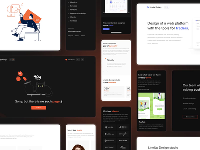 LineUp Design: Inner pages studio team page landing page gradient pages development motion interaction interface design studio website design motion graphics animation corporate branding clean ux minimal ui