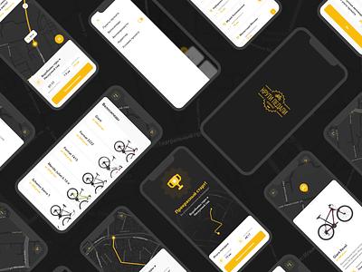 Bike Rent App navigation booking startup gps sharing cycling bike rental mobile app online bycicle rental animation location map rent app clean ux minimal ui