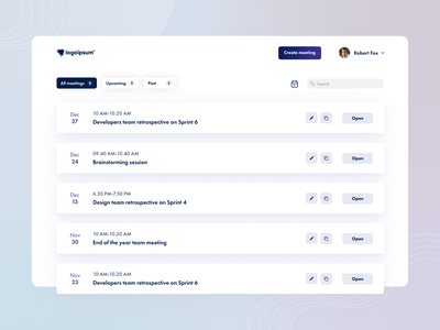 [E-learning] Meeting planner UI/UX design design web app user research website figma minimal app design ux ui prototype