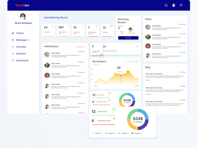 [Education, Dashboard, App] Online app for teachers and tutors. figma app design ux ui prototype