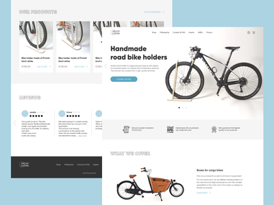 [Landing page] design for bicycle accessories brand bicycle mockup landing page website minimal figma ux ui prototype