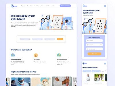 [Healthcare / Responsive web design] UI/UX Design for eye clinic eyecare healthcare wireframe mockup responsive design website design figma ux ui prototype