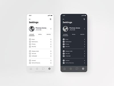 Settings Page daily ui 007 dailyui007 daily 100 challenge settings page setting settings bnw dailyuichallenge daily ui dailyui ui minimal design app