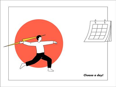 Choose a Day calendar character illustration