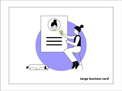 Large Business Card dog character illustration