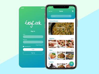 Easy Cook (Design Prototype) food app design food app ui food app flat minimal app ux branding ui design