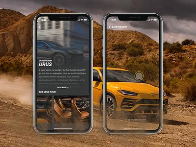 Lamborghini App Concept fan offroad iphone x 360 urus suv car cars ux ui ios design concept app lamborghini