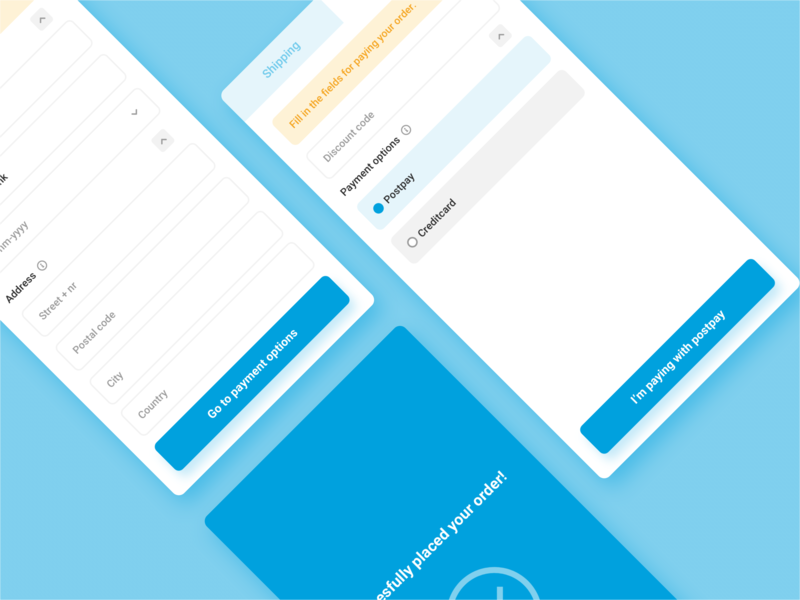 #59/100 Ready to pay iphone ios order blue clean prototype interaction design input form forms taskflow pay checkout checkout flow