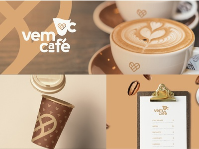 Vem café | Visual Identity coffee logo coffee shop sweet coffee clean visual identity design branding logo