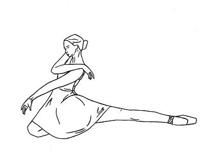 Ballerina Stretching logo design delicate ballet pointe linedrawing lineart ballet illustration